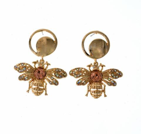 Eur Fashion Insect Bee Dangle Earrings Shining Cubic Crystal Eardrop Gold Tone Ear Studs For Women Girl Wedding Jewelry Accessories