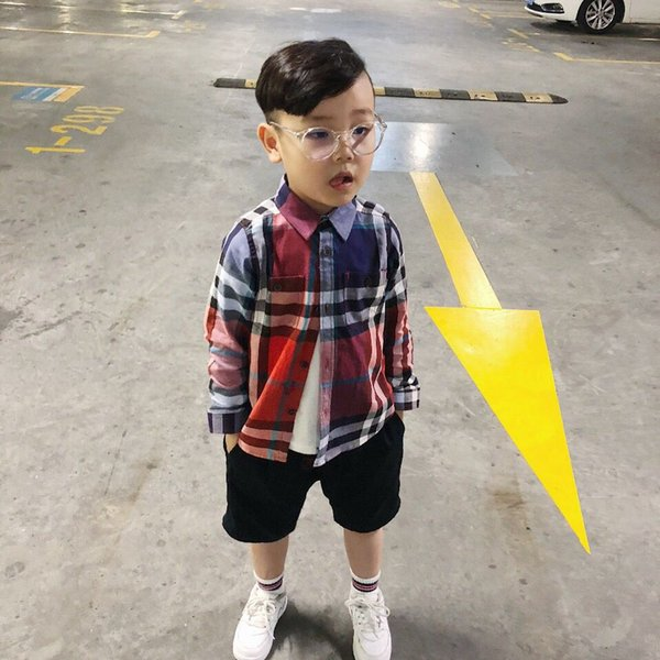 fashion brand Casual Boys Shirts 2018 New Autmn Children's Tops with Pocket Outwear Children's Clothing Cotton Kids Plaid Shirts