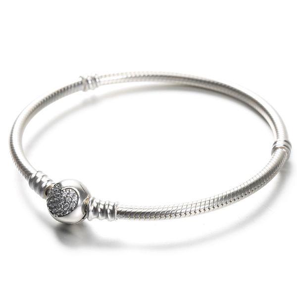 Bracciale da donna in argento sterling 100% 925 Bracciale a cuore in pavé con micro CZ bianco con scatola per ciondoli europei Pandora