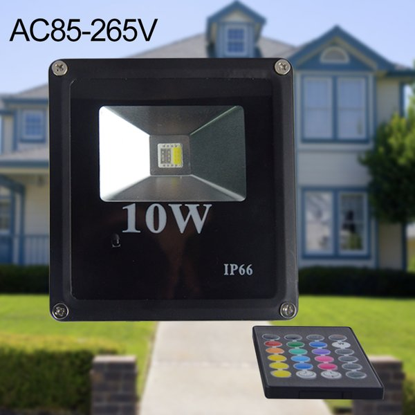 Outdoor RGB LED Flood Light Real high power 10W Floodlight Bulb Waterproof IP66 Lamp With Remote Control Holiday Lights