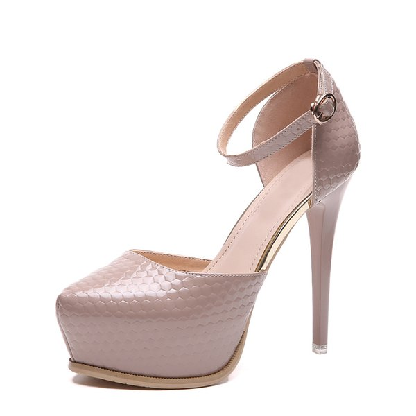 12cm Ankle strappy platform high heels D'orsay pumps nude black shoes size 34 to 39