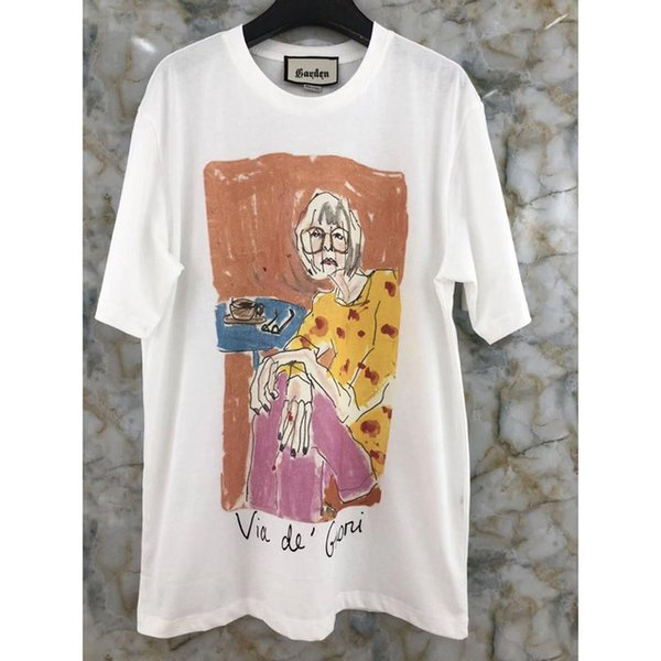 new Brand Design Cartoon Girl print women men tshirt summer o-neck tshirt cotton women garden collection tees
