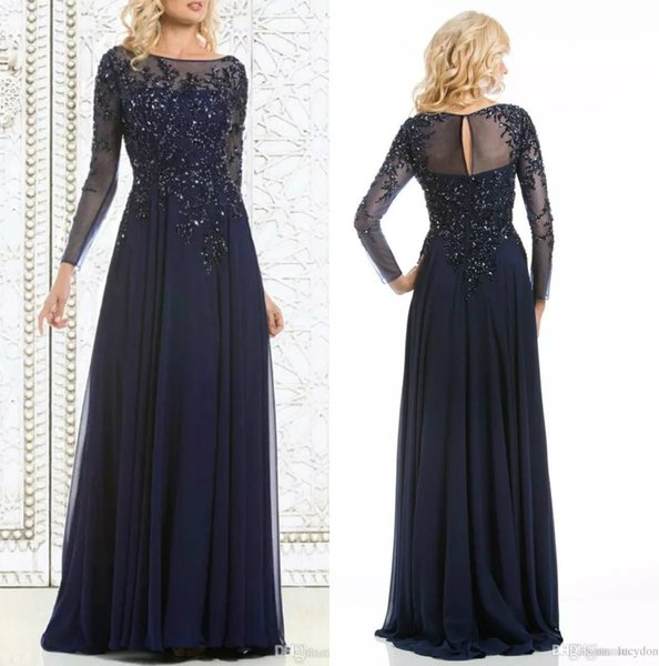 Elegant Navy Blue Mother of The Bride Dresses Chiffon See Through Long Sleeve Sheer Neck Wedding Guest Dress Appliques Sequins Evening Gowns