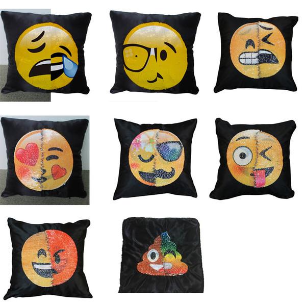 Emoji Smiley Face Funda de almohada con lentejuelas reversible doble Funda de cojín Sofá para el hogar Fundas de almohada con lentejuelas mágicas