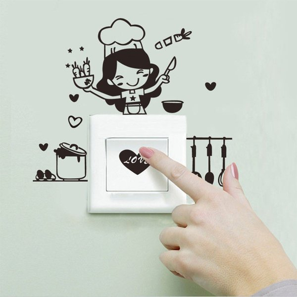 2017 New Arrival Fashion Kitchen Light Switch Sticker Cute Cook Vinyl Wall Decal Home Decor For Kicthen Decoration Hot Sale#30