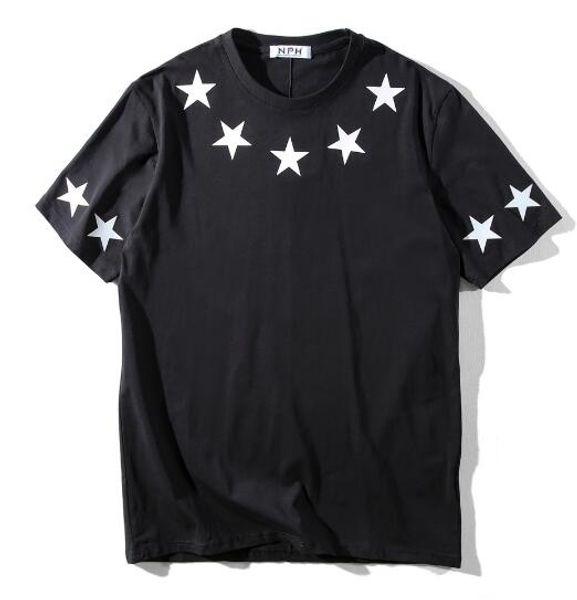 fashion designer luxury clothing t-shirt summer for men black white pu leather star print cotton casual t shirt tshirt tee tops
