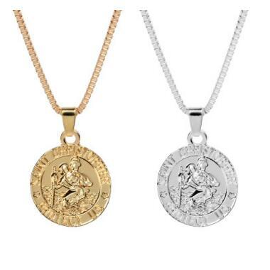 Saint Christopher Protect Us Surfing Necklace Coin Traveller Necklace Silver Gold Plated Chain for Women Men Fashion Jewelry MOQ 20 pcs