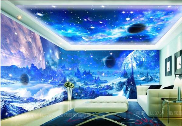 3d Wallpaper Silk Custom Photo Fantasy Blue Universe Moon Space Theme Space Home Improvement Room 3d Wall Murals Wallpaper For Walls 3 D Free
