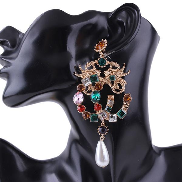 Women Drop Earrings - Colorful Artificial Gemstone Alloy Luxury Brand Designer Jewelry Women Earrings - Gem Statement Earrings