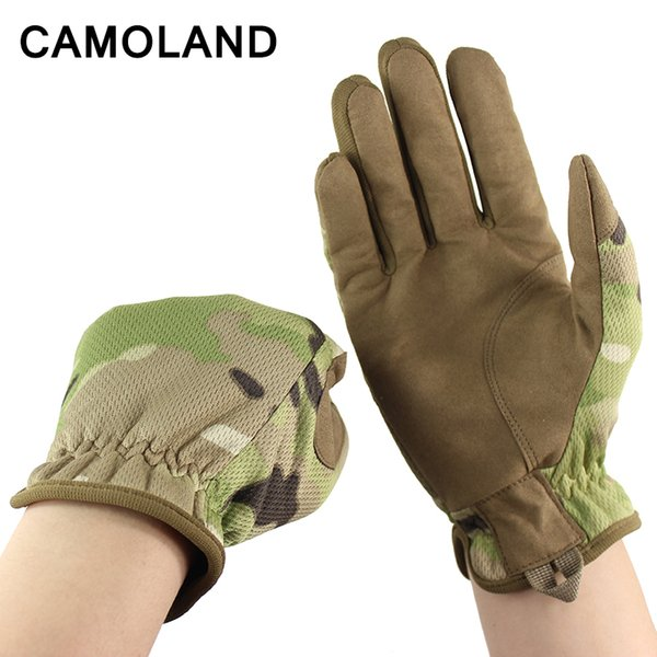 CAMOLAND NEW Men Gloves Tactical Military Combat Gloves Outdoor Sports Full Finger Bicycle Mittens Paintball Airsoft Male Gloves D18110705
