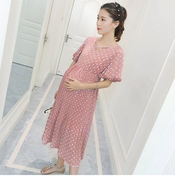 0071# Sweet Pink Polka Dot Pleated Chiffon Maternity Long Dress Summer Slim Clothes for Pregnant Women Pregnancy Clothing