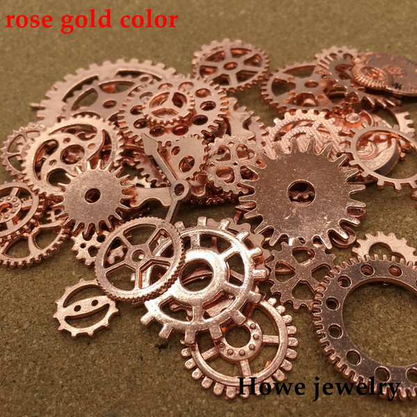 Mixed 200g steampunk gears and cogs clock hands Charm rose gold Fit Bracelets Necklace DIY Metal Jewelry Making