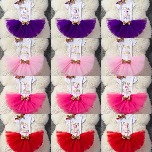 Baby Girls Letter Romper +TuTu Skirts+Headbands 3pcs Sets Kids Birthday Printed Bubble Skirts Bow Tulle Dress Outfits