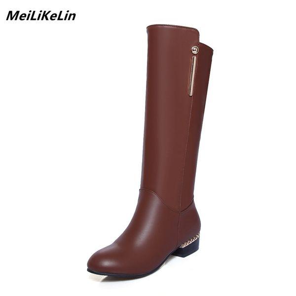 MeiLiKeLin Femmes Bottes Cuir D'hiver D'hiver Haute Qualité Acheter De En Talon À Hautes De Chaussures Genou Femmes Bas Bottes Chaussures De De Marque 1TlJcFK