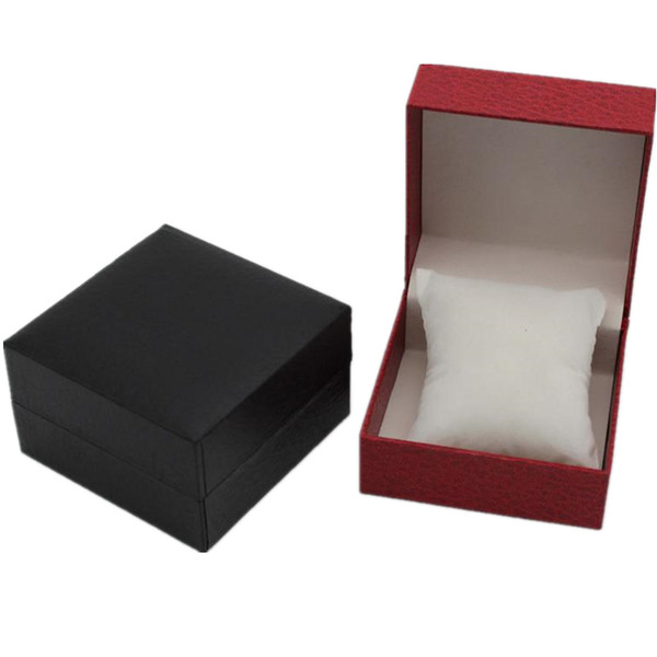 2 Colors Compact Jewelry Watches Wristwatch Square Box Storage Case High Quality Red Black Leather Carring Cases for Bracelets