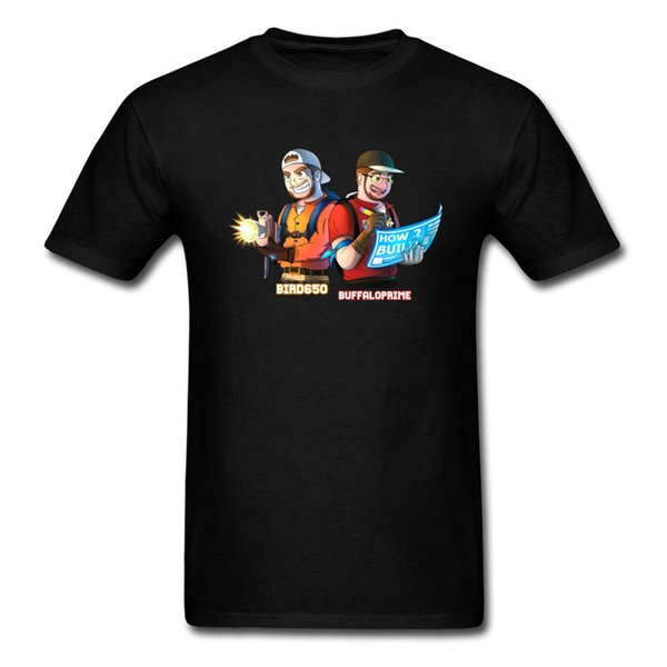 Air Bird And Buffalo T Shirt Funny Men TShirt Black 100% Cotton T-shirt Cartoon Groups Clothes Plumber Tops Game Tees Fitness