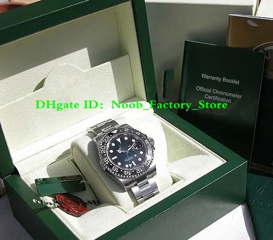 NEW Factory Sales automatic movement 40MM MENS SS GMT-MAS TER II BLACK CERAMIC # 116710 with original box Diving watch