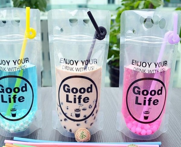 1000pcs 450-500ml Clear Plastic Drinking Packaging Pouch Beverage Juice Coffee Bag Good Life Summer Beverage Pouches