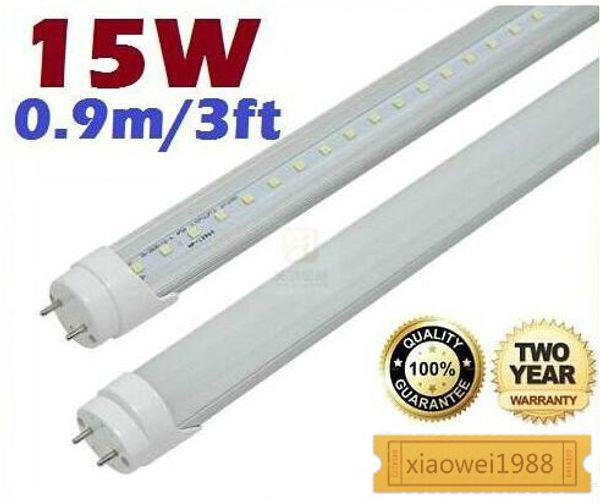 15W 3ft 0.9m T8 Led Tubes Light Frosted/Transparent Cover 120 Angle Warm/Natural/Cool White 90cm Led Fluorescent Lights 85-265V