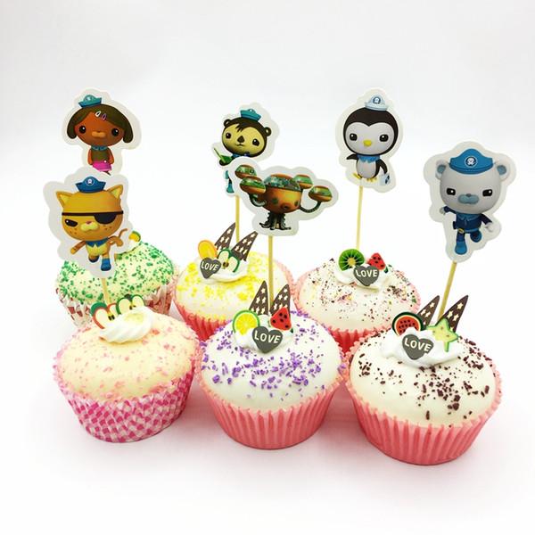 720pcs Submarine Octonauts Kwazii Barnacles Shellington Peso Dashi Cupcake Toppers Child Birthday Party Cake Decoration Supplies