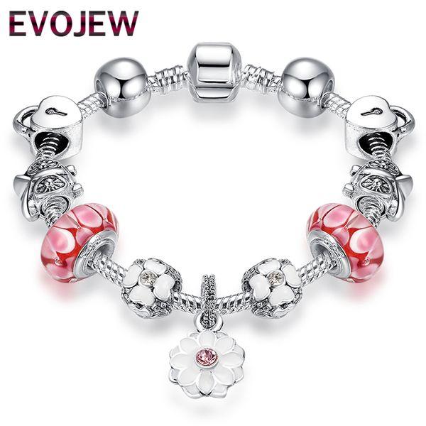 Haute Qualité Bracelet Vintage Argent Fleur Charmes Bracelets avec Perles De Verre Rose Fille Bracelets Amitié Bijoux Making