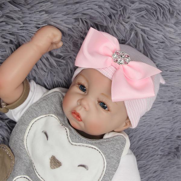 0-3M Baby Crochet Hats with Bow Newborn Baby Girls Nursery Beanie Hospital Hat Knitting Hedging Caps Autumn Winter Warm Tire Cotton Cap