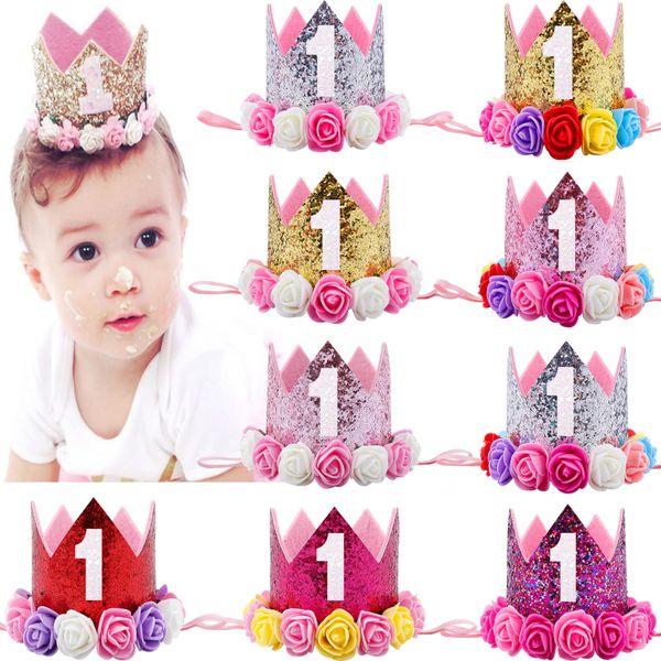 Corona per neonati Corona per principessa d'oro Corona per neonato Fascia per capelli per neonato Accessori per capelli per bambini 1 2 3 anni Cappello di compleanno