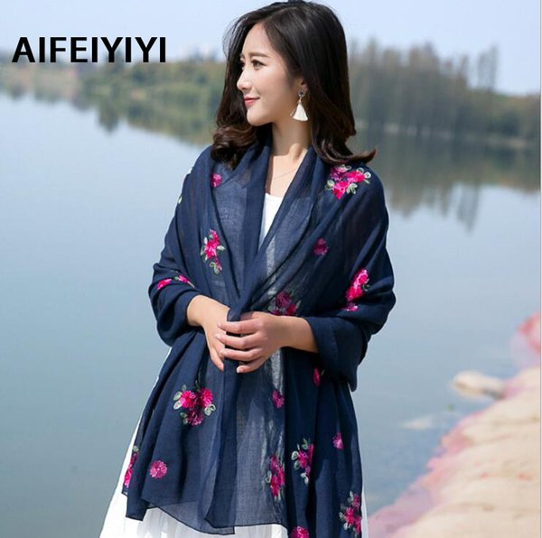 2018 New National Wind Spring Summer Autumn Color Flower Embroidery Cotton Muffler Pure Color Long Lady Scarf S18101904