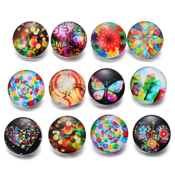 New Snap Button Jewelry Vintage Flowers Butterfly Cartoon Glass 18mm Snap Buttons Fit 18mm Snap Bracelet Buttons Jewelry