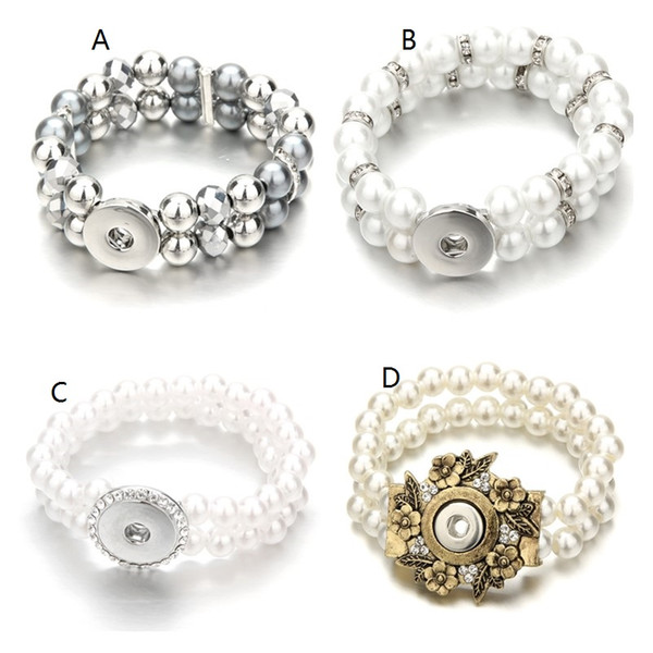 Noosa Handmade Double Layers Pearl Beads Bracelet DIY 18mm Ginger Snap Button Charms Elastic Strand Beaded Jewelry Gift