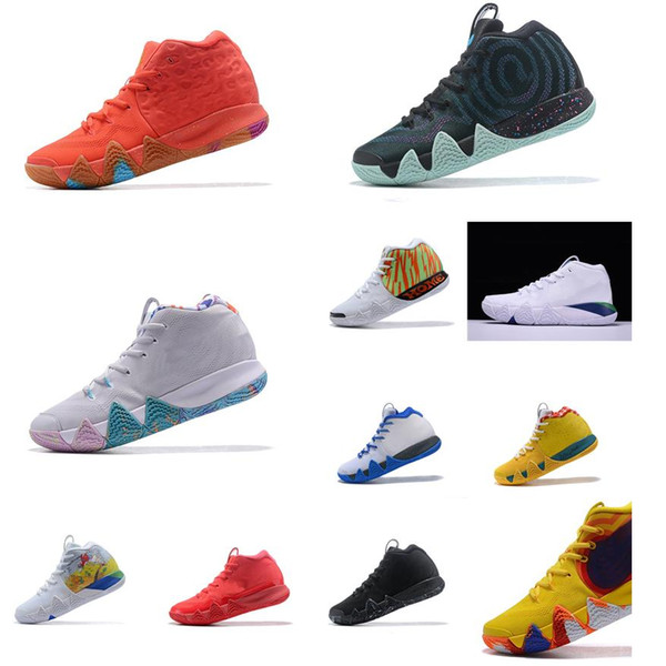 Cheap new Men Kyrie Irving basketball shoes black gold team red Lucky Charms sports yellow Deep Royal 4 IV sneakers boots tennis for sale