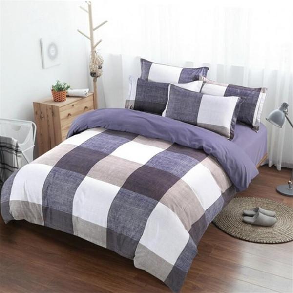 Luxury Lattice Stripe Sheets Sets Print Bedding Set Modern Popular Quilt Cover Style Bedlinen Pillowcase Bed Sheet size 3PCS