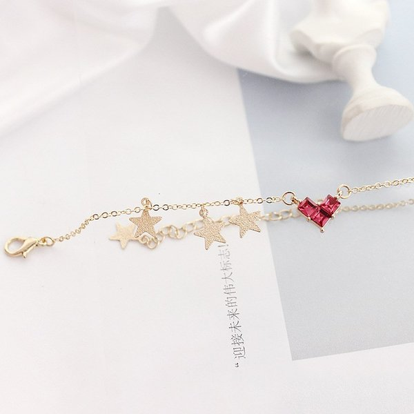 2018 New Hot Simple Red Heart Star Tassel Charm Bangles Bracelets Cute Japanese Style Red Heart Crystal Bracelets