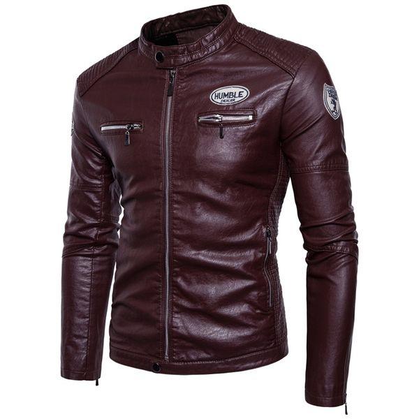 Autumn Men's Leisure Long-sleeved Leather Jackets Men , Winter Windproof Leather Moto Biker Style Thick Warm Jacket Men