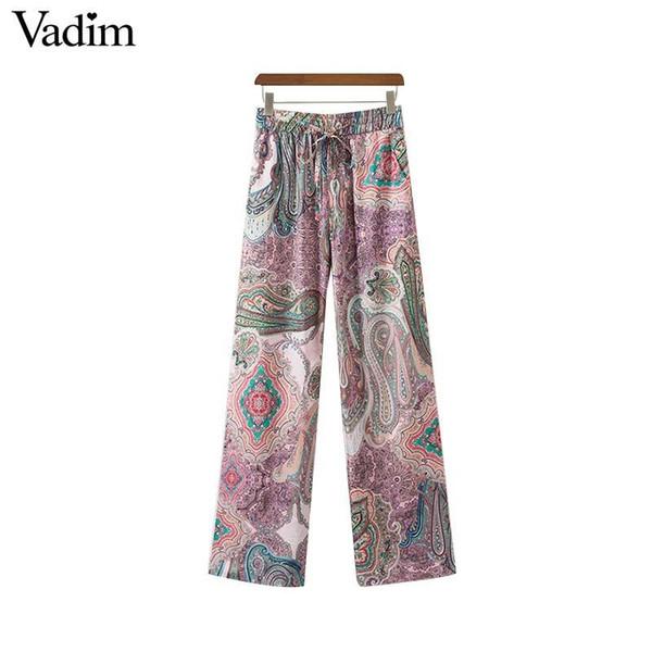 Vadim women vintage paisley print pants bow tie sashes elastic waist pockets female casual ankle length trousers mujer KA065 S914