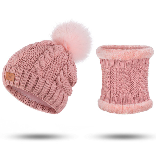 9ae1095a4f4 Fashion Winter Hat And Scarf Set For Women Knitted Hat Scarf Girls Pompoms  Beanies Knitted Scarves 2 Pieces Set Accessories