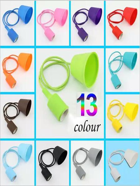 E26 E27 Socket Colorful 13 colors 1M rope PVC sillicone Pendant Ceiling Light Lamp Bulb Holder Decorative lights lighting