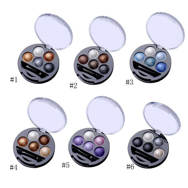 1Pcs 5 Colors Baked Eyeshadow Eye Shadow Powder Metallic Shimmer Warm Color Shadow Palette With Eyeshadow Brush Cosmetics