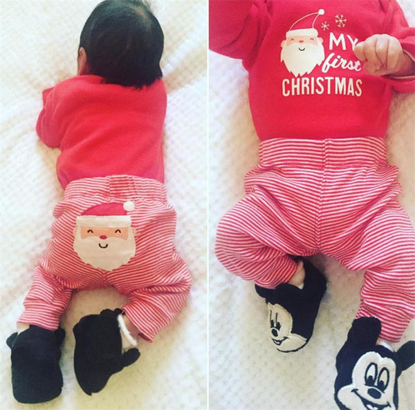 My First Christmas Clothing Sets Baby Boys Girls Long Sleeve Christmas Outfits Letter Printed Tops Stripe Pant kids Santa Claus Suits