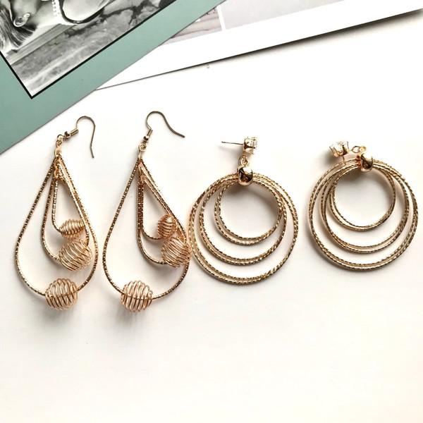 Simple women's earrings circles&water drop big earrings zircon fantastic drop ear rings elegant street style dangle