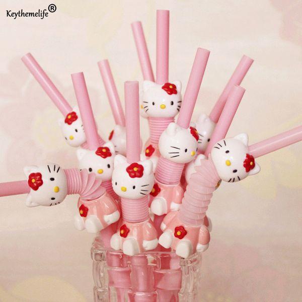 5PCS Cartoon Hello Kitty Cute Drink Decoration Reusable Plastic Drinking Straw Kitchen Gadgets Bar Tools YYJ0