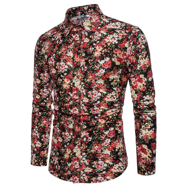 Fashion Elegant Flower Shirt Casual Party Club Mens Blouse Long Sleeve Floral Vintage Sexy Shirts Novelty 2018 Male Shirt Tops