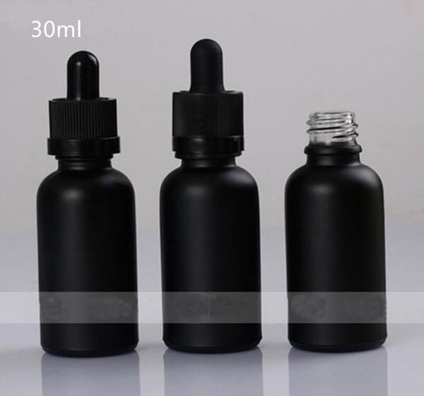 New Products Cosmetic Bottle Frosted Black Glass Essential Oil Bottles 30ml Dropper Glass Bottle Con Tapa De Seguridad Para Jugo E