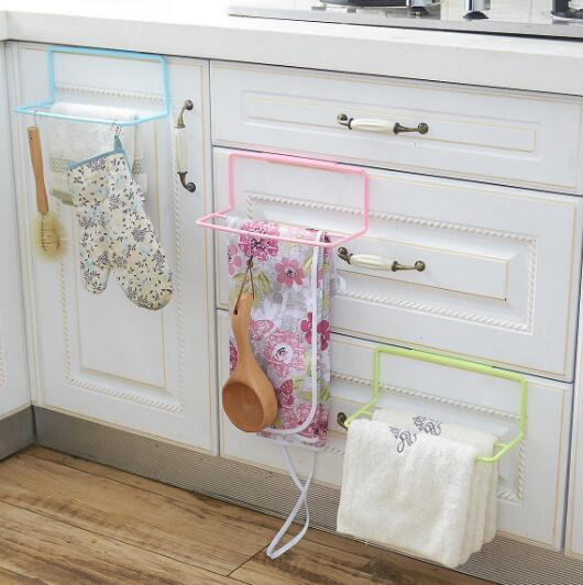 Creative Gift Multipurpose Kitchen Doors Double Rod Wipes Towel Rack Bag Rack Apron Rack Finishing Hook