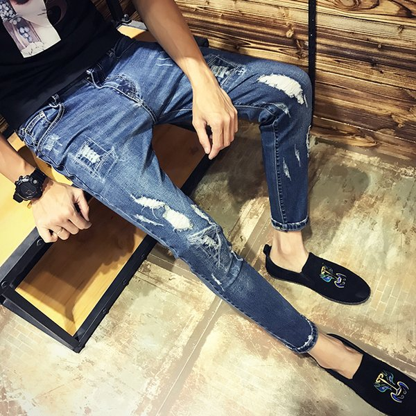 Men's Jeans Hole 2018 Summer New Fashion Slim Lightweight Nine Pants Feet Casual Cotton Micro-bomb Men's Hole Jeans Size 28-34