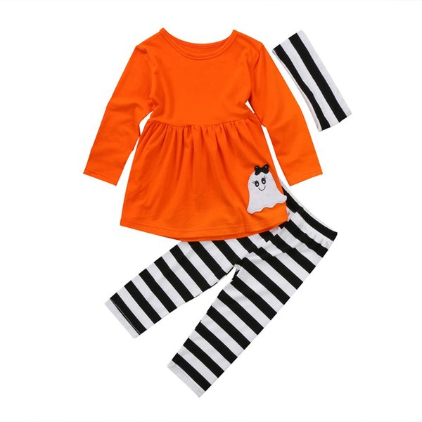 Halloween Toddler Kids Girls Clothes Set Costume Long Sleeve Solid Tops Dress Striped Pants Legging Clothes Outfits Sets