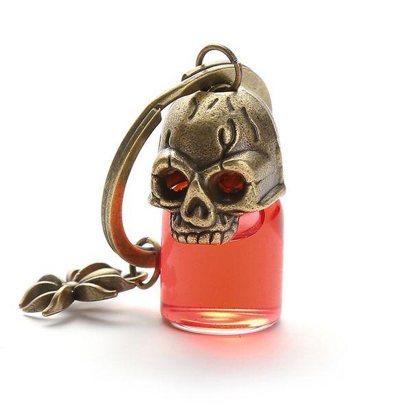 wholesale 10pcs/lot Halloween Prank Key chain Gothic Retro Blood Glass Bottle pendant key ring For Best friend women Couple jewelry Gift