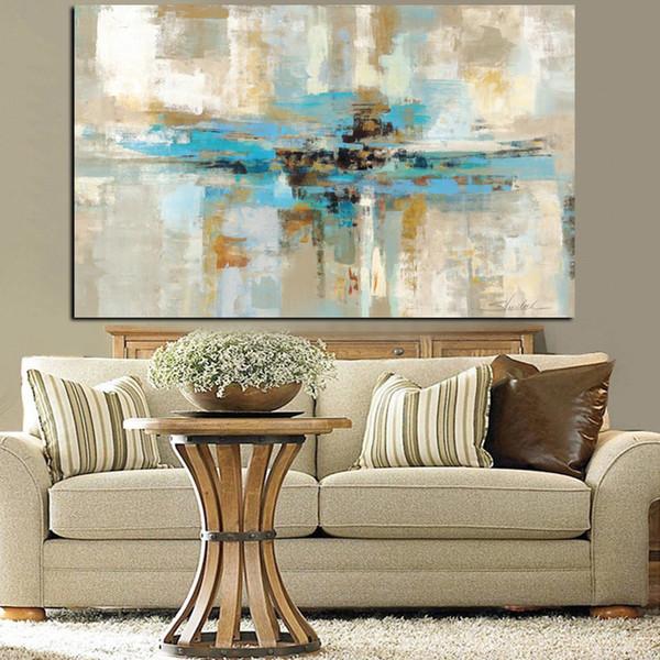 Acheter Marron Bleu Moderne Abstraite Peinture À L\'huile Affiche  D\'impression Mur Art Toile Chambre Mur Art Image Pour Salon Cuadros Décor À  La Maison ...