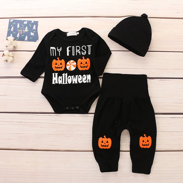 Baby Halloween Outfits Rompers Boys Girls Pumpkin Long Sleeve Romper Pants Hat Pumpkin Halloween Letter Infant Boutique Black Clothes
