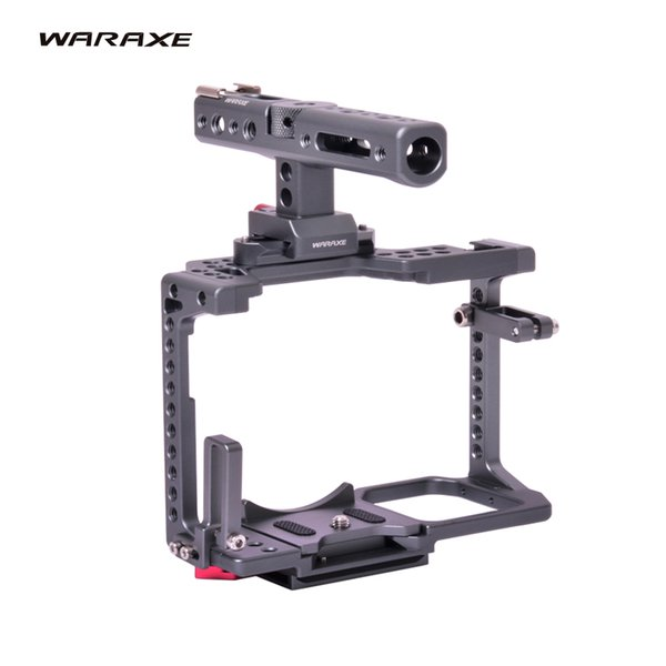 WARAXE GH5 Kit Camera Video Cage & Handle Grip for Panasonic GH5 GH4 DSLR Camera,Built-in Quick Release Fits Arca Swiss